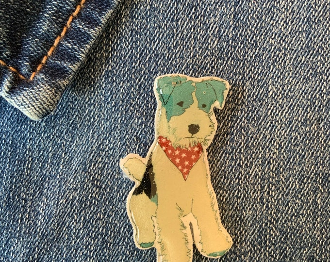 Dog Pin - Fox Terrier Badge, Hand Made, mothers day, christmas gift, birthday gift, dog lover