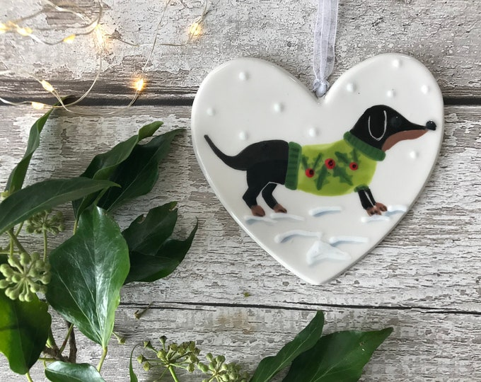 Black and Tan Sausage Dog in Green Christmas Jumper - Dachshund, weener, wiener - Hand painted ceramic heart