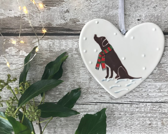 Hand Painted Ceramic Heart - Chocolate Labrador with scarf - dog, christmas, heart, gift, christmas decoration, christmas ornament, friend