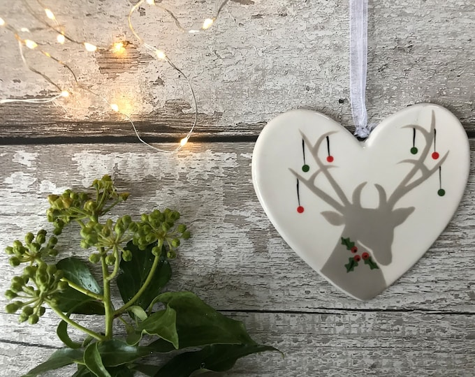 Hand painted Ceramic Heart - Holly with baubles, heart, christmas decoration, ornament, gift, friend, heart
