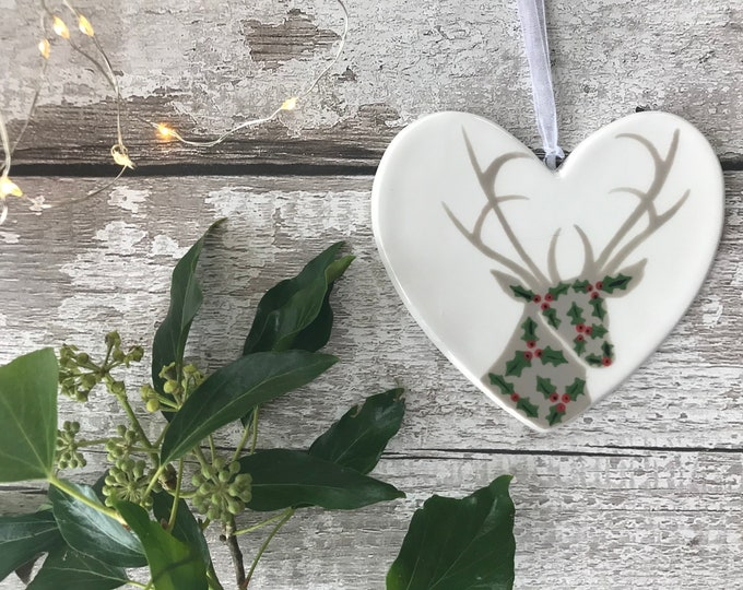 Holly Stag hand painted ceramic heart, christmas decoration, ornament, gift, friend, heart, christmas gift her, christmas gift him