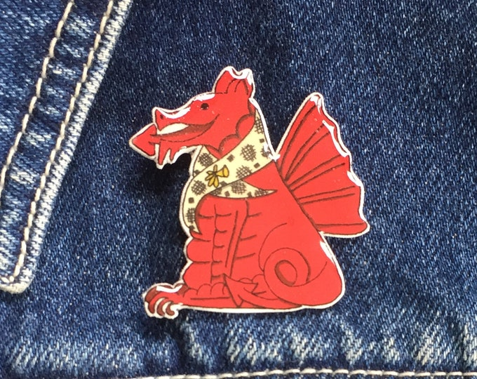 Welsh Dragon Pin, Badge, Hand Made, Welsh, Cymru, Cymraeg, mothers day, christmas gift, birthday gift