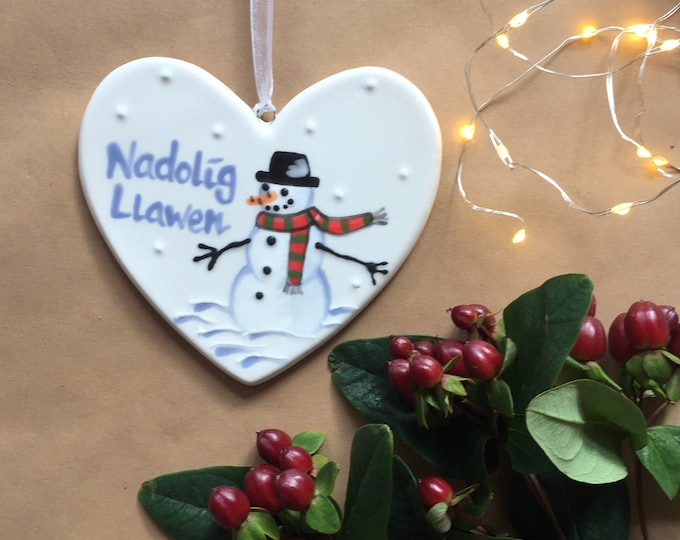 Hand painted Ceramic Heart - Nadolig Llawen Snowman, welsh for happy christmas, christmas gift, christmas decoration, heart, orname