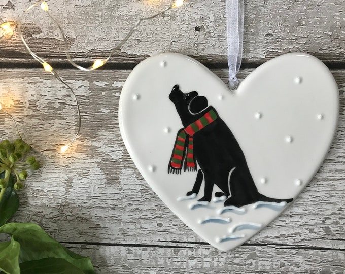 Hand Painted Ceramic Heart - Black Labrador with scarf - dog, christmas, heart, gift, christmas decoration, christmas ornament, friend