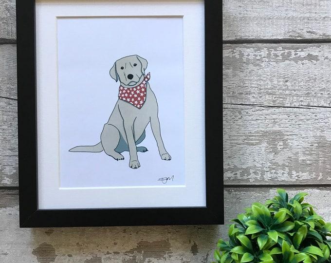 Labrador Mounted Digital Art Print, mothers day, christmas gift, birthday gift, Home decor, dog lover, sausage dog