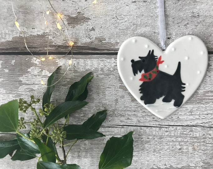 Hand Painted Ceramic Heart - Scotty Dog with Holly Scarf - dog, christmas, heart, gift, christmas decoration, christmas ornament, friend