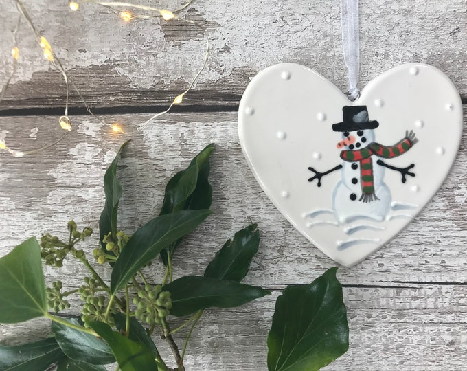 Frosty the Snowman - hand painted ceramic heart - christmas gift, decoration, ornament, friend, heart, christmas gift for her