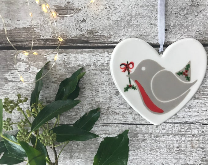 Little Robin Red Breast with holly - hand painted ceramic heart, christmas decoration, ornament, gift, friend, heart, christmas gift for her