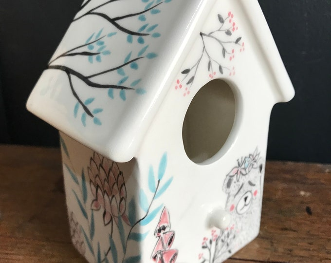 """Hand Painted Ornamental Ceramic Birdhouse - """"Little Bear"""" - Mothers Day Gift,  Birthday Gift, Housewarming Gift, Anniversary Gift"""