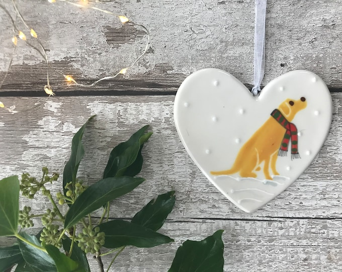 Hand Painted Ceramic Heart - Golden Labrador with scarf - dog, christmas, heart, gift, christmas decoration, christmas ornament, friend