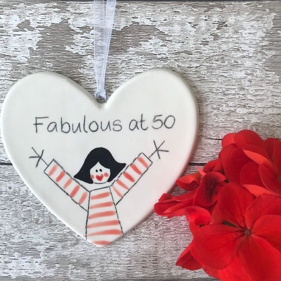 50 Hand Painted Ceramic Heart - 50 - Fabulous at 50 Birthday Gift for daughter, granddaughter, niece, friend, goddaughter, mum, sister, her