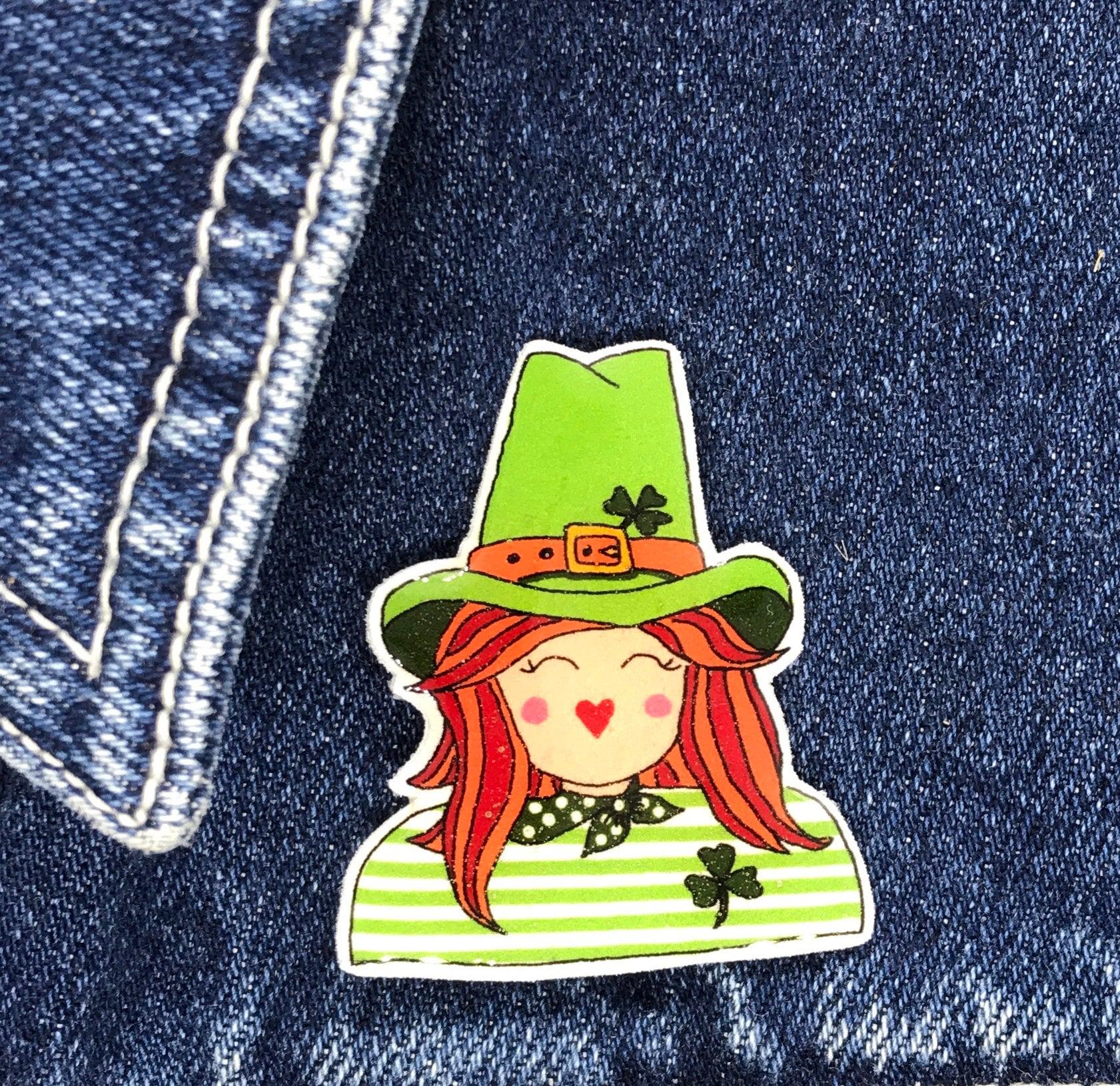 82d77dfd9 Lady Leprechaun Pin, Badge, Hand Made, Irish, Ireland, mothers day ...