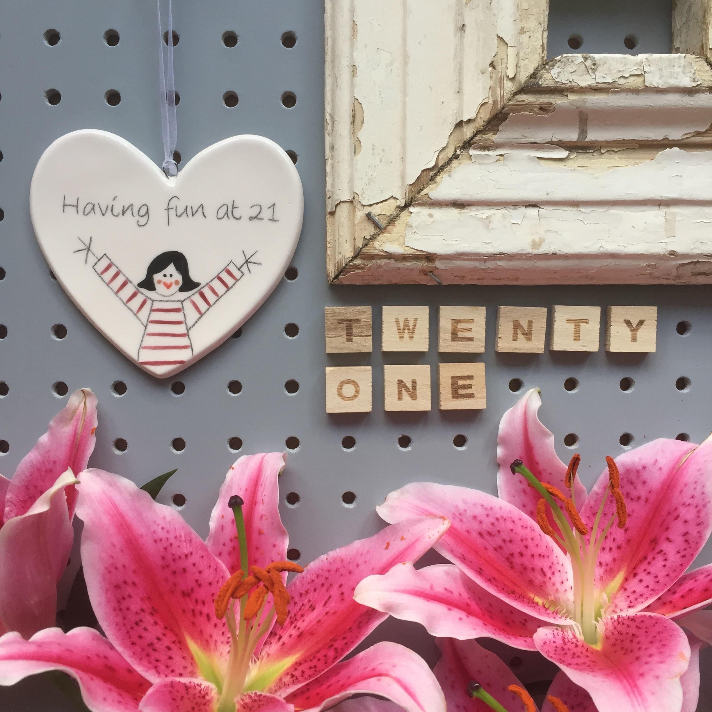 21 Hand Painted Ceramic Heart