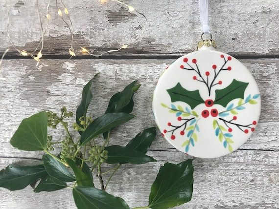 Hand Painted Ceramic Flat Bauble - Holly and Berries Design - christmas, bauble, gift, christmas decoration, christmas ornament