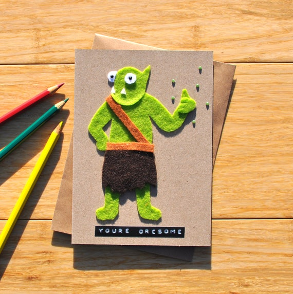 Dungeons And Dragons Birthday Card Youre Orcsome Etsy