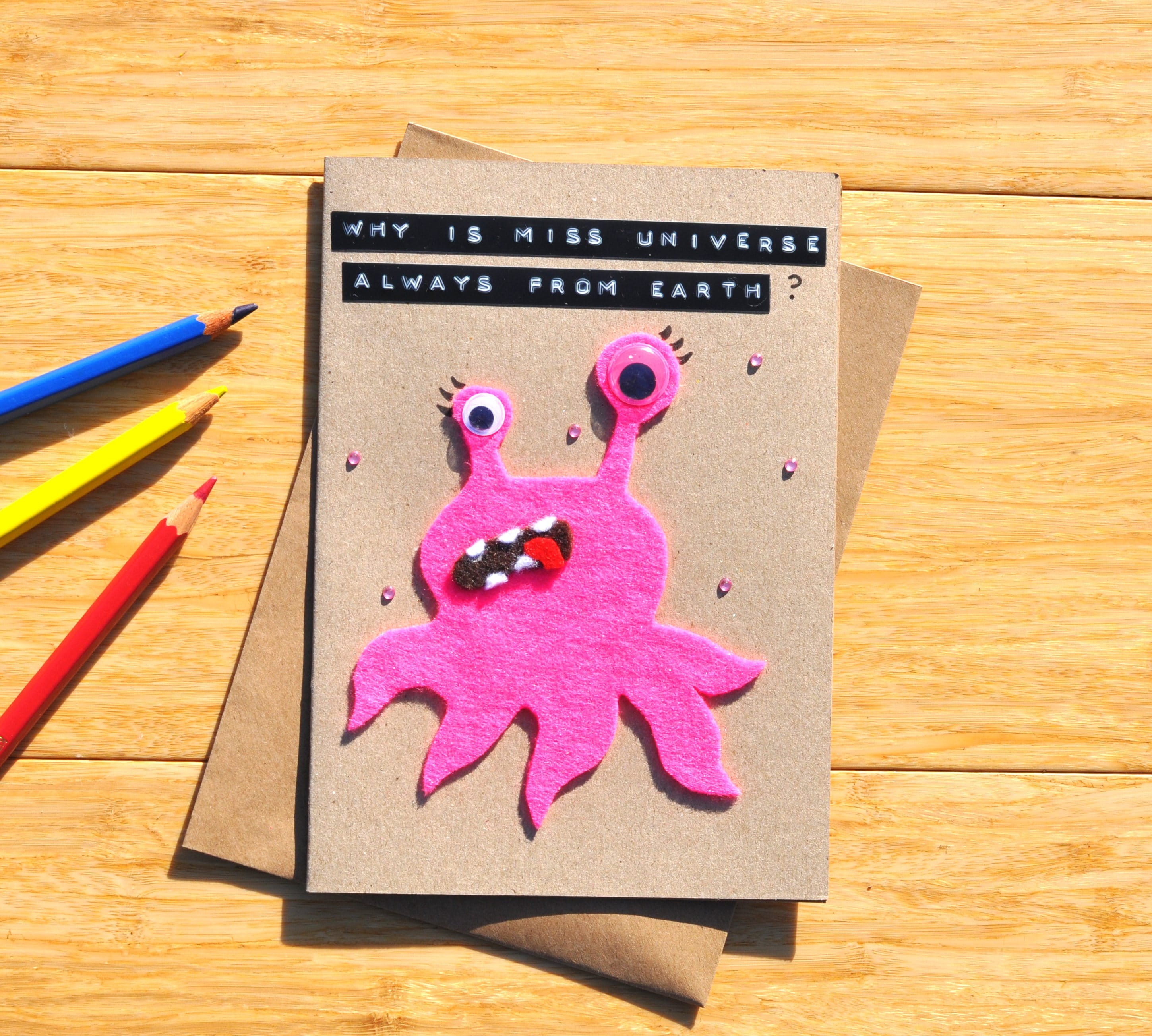 Miss Universe Birthday Card Alien Greeting Card Why Etsy
