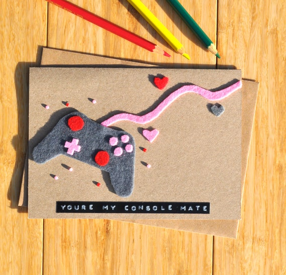 Gamer love card Console anniversary card Geeky romance