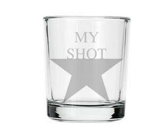 "Hamilton ""My Shot"" Shot Glass, I am not throwing away my shot, etched Alexander Hamilton glass, geeky nerdy shot glass gifts, shots glasses"