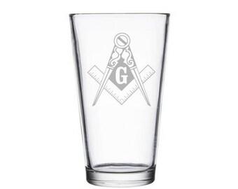 Freemason Compass Masonic Pint Glass Gift