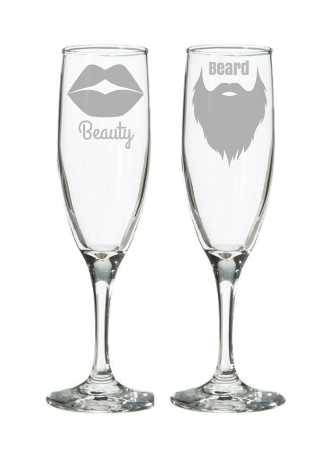 Beauty The Beast Wedding Champagne Flutes Toasting Glasses Gift