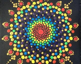 Hand painted Rainbow Mandala