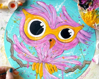 Owl painting, vinyl record art, owl gifts, owl art, owl home decor, owl picture, owl room decor, owl sign, kawaii owl, upcycled art,wise owl