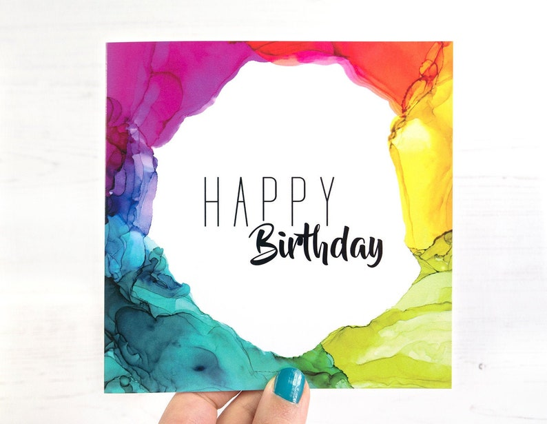 Rainbow Birthday Card Rainbow Greeting Card LGBTQ Birthday image 0