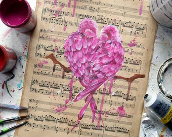 Valentines day gift, wedding gift, romantic gift, romantic valentine, sheet music art, sheet music painting, girlfriend gift, love is love