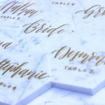 "CUSTOM ORDER: 15 4"" White Marble Hex Tiles with Gold Calligraphy"