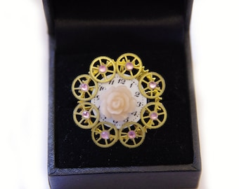 Steampunk ring soft rose with gears