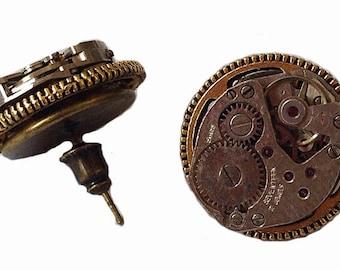 steampunk earrings clockwork gears gearwheels