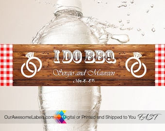100 Custom Wedding Water Bottle Labels per order or More  50th 25th Anniversary Burlap,Rustic Wood I Do BBQ Flowery,Lace,Birthdays