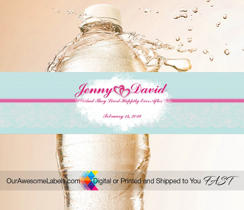 Personalization Wedding Water Bottle Labels 50th 25th Anniversary Birthday Bridal Shower Burlap,Rustic Wood 100 Labels per order I Do BBQ.