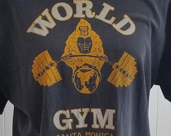 59f5cb420 Vintage 1980s World Gym Gorilla T Shirt Santa Monica