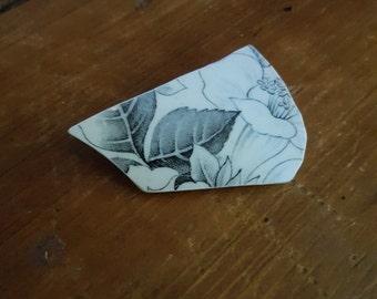 Vintage broken china brooch black & white flower