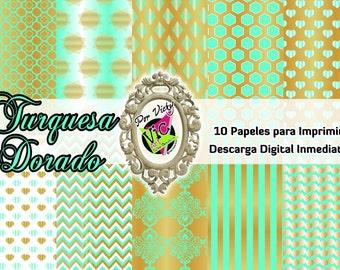 10 Digital Paper / Papeles Digitales / Imprimibles Dorado-Turquesa