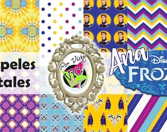 12 digital Paper / Papeles Digitales / Imprimibles Frozen