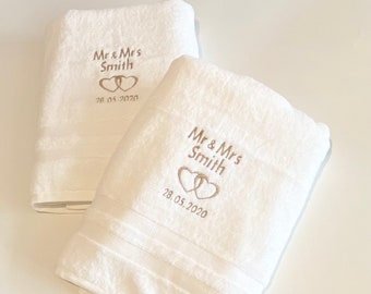 Personalised wedding gift - Mr & Mrs personalised towels