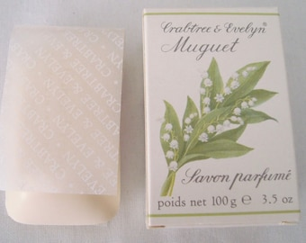 NIB Vintage 1990 CRABTREE & EVELYN Lily of the Valley Soap 3.5 oz. Bar Boxed