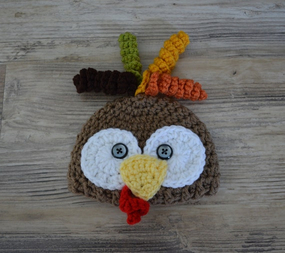 Crochet turkey hat Crochet holiday hat Baby Turkey Beanie  9e69e3a8236