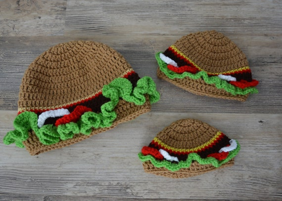 Hamburger Beanie Crochet Hamburger Cap Foodie Hat Food Hat  94fdf3880c24