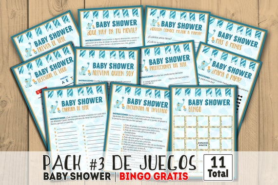 Baby Shower Para Varon Baby Shower Para Nino Azul Juegos Etsy