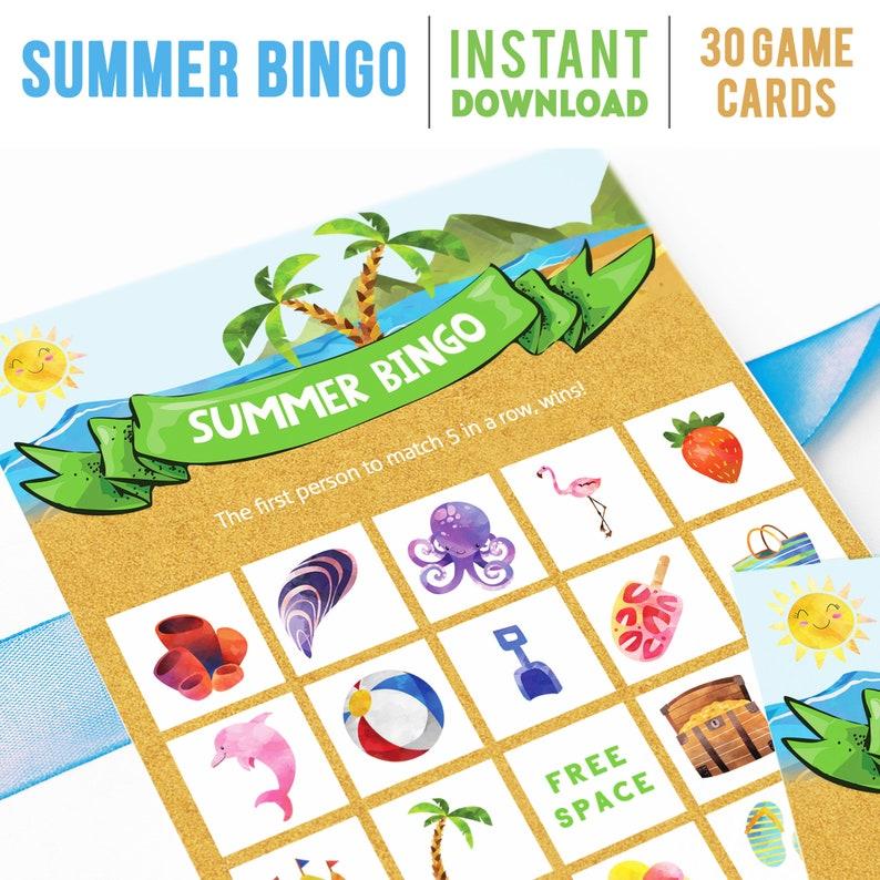 Summer Bingo for Kids Fun Printable Game