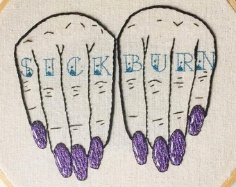 Sick Burn Knuckle Tattoo Embroidery - handmade, decorative, nails, contemporary, modern