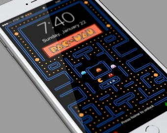 Pac Man   IPhone 5,6,7,8 Background Wallpaper   Mobile Cell Phone  Personalized Lockscreen Background   Ringtone