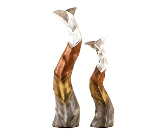 Vases Aluminium Curvy Style for Decor Flowers Living Room Bedroom Home Decor (Set of 2)