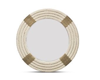 Round Wall Mirror Rope Shabby Chic Vintage Handmade Nautical Wall Mirror 80cm Large Size