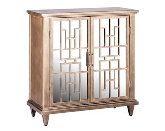 Buffet Sideboard Cabinet Storage Iron Glass Brass Colour