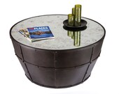 Coffee Table Industrial Wrought Iron Half Barrel with Smoked Glass Top