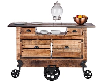 Kitchen Island Wooden Iron Trolley Cart Bench With 4 Drawer Etsy